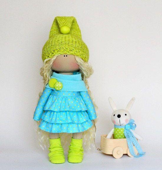 Bonita doll Turquoise doll Handmade doll Fabric doll Tilda