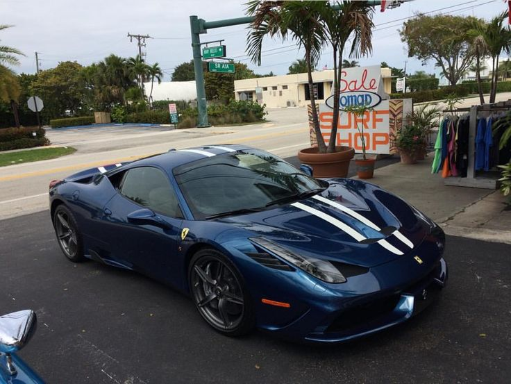 ferrari 458 speciale painted in tour de france blue w white and blue racing stripes - Ferrari 458 Blue And White