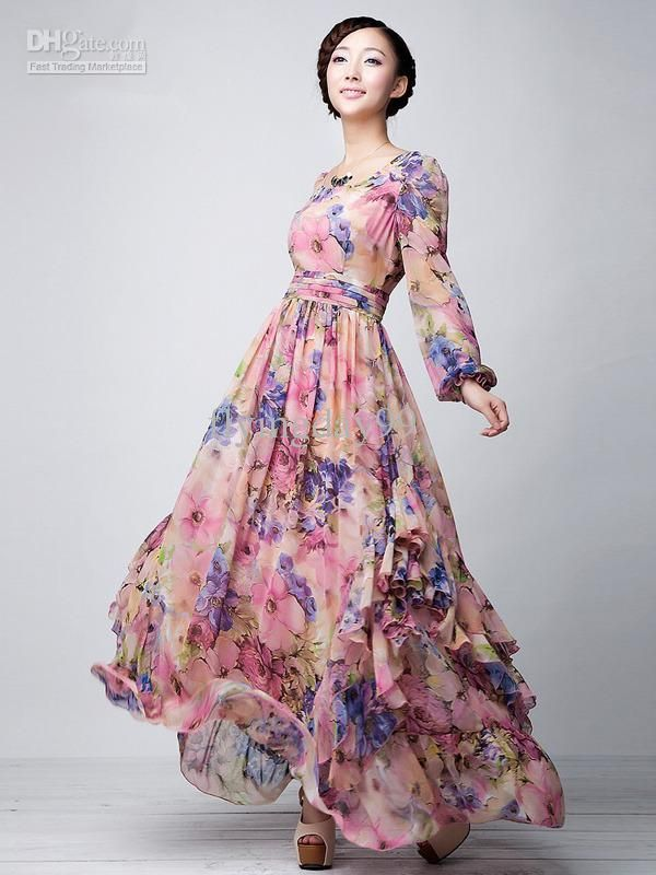 Wholesale Maxi Dress - Buy Pink Floral Printed Long Sleeves Chiffon Jewel Neck Maxi Dress Party Dresses for Women #u5-163I, $83.8 | DHgate