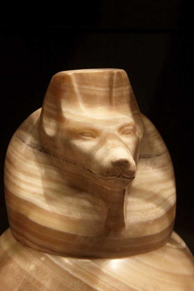 Le Crépuscule des Pharaons - Douamoutef, à tête de chien. Bouchon de vase canope.