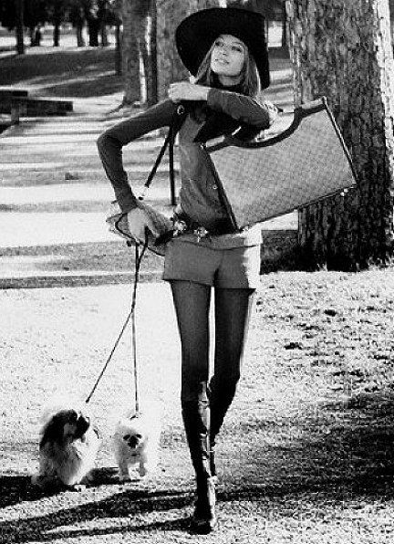 Large brim hats and large bags, a must for the elegant hotpants wearer  UK 70s