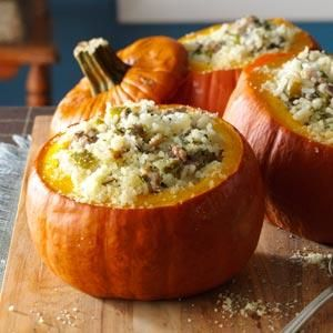 Sausage & Rice Stuffed Pumpkins- Fresh pumpkins are great for more than just carving into jack-o'-lanterns. Stuff and bake them to make sides, main dishes and even desserts perfect for fall celebrations.