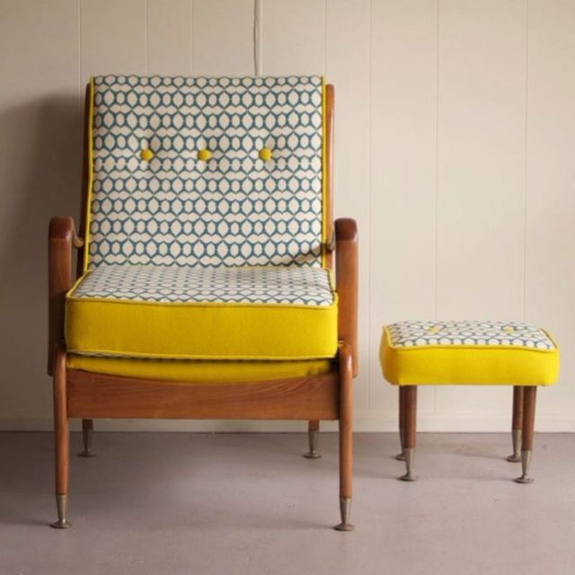beautiful vintage armchair - perfect for me! Wonder if I could do this on ours.....