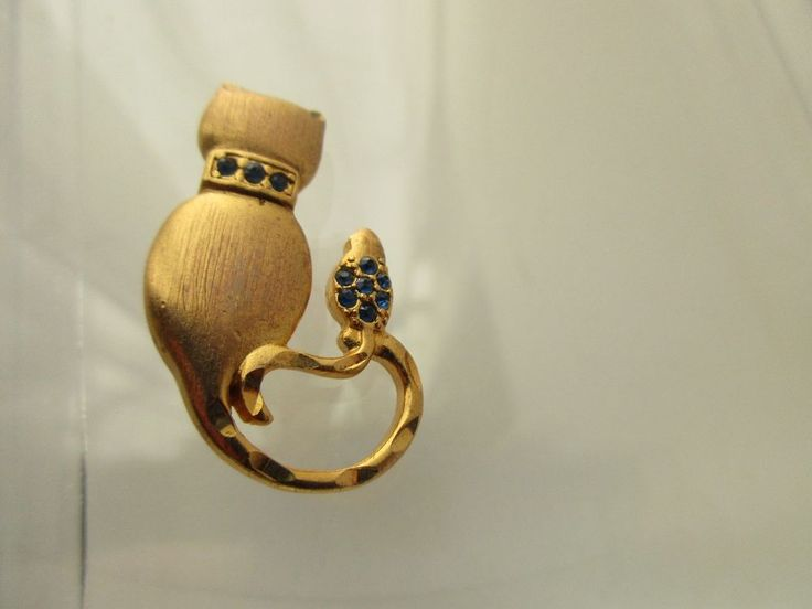 VINTAGE CAT AND MOUSE GOLDTONE AND BLUE RHINESTONES BROOCH PIN    eBay