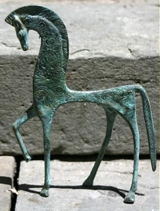 The Etruscan horse  The horse is a strong symbol in the Etruscan culture. As in the Egyptian or in the Chinese culture the Etruscans would put in their tombs a large number of warriors or horses or chariots...the horse has also the meaning of strength and power.  This horse is a consequence of the exchanges the Etruscan had with Greece.