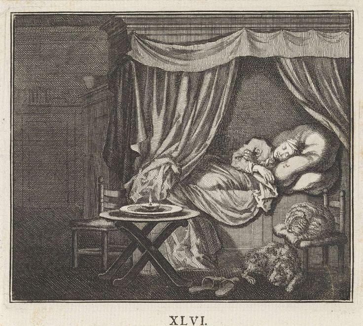 Jan Luyken | Embleem: nacht, Jan Luyken, 1695 - 1705 | Het interieur van een slaapkamer. Een man ligt te slapen in een ledikant. Naast hem op een stoel een slapende kat. Op de grond een slapende hond.