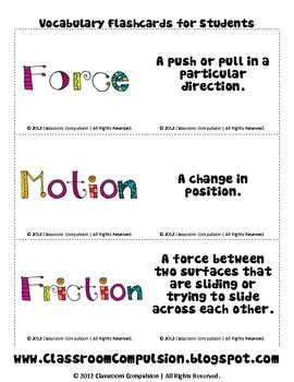 These flashcards can be used to help students remember vocabulary for force and motion.  These are a freebie