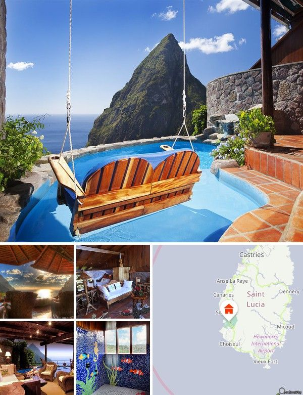 The hotel is located near Castries in the southwest of St Lucia, approximately 1.5 km from the Caribbean Sea and its beaches. The ultimate rainforest hideaway, it is situated 1,100 feet above sea level. Hewanorra International Airport is 15 km from the hotel.