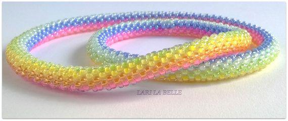 LOLLIPOP twisted seed bead crochet bracelet, handmade