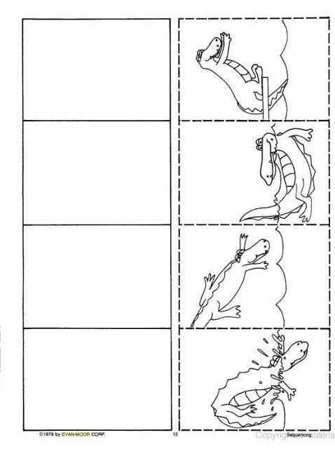 Logische volgorde krokodil voor kleuters, free printable / SEQUÊNCIAS PARA ATIVIDADES DE REDAÇÃO