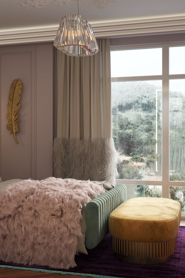 A bedroom surrounded pink walls and full of beautiful