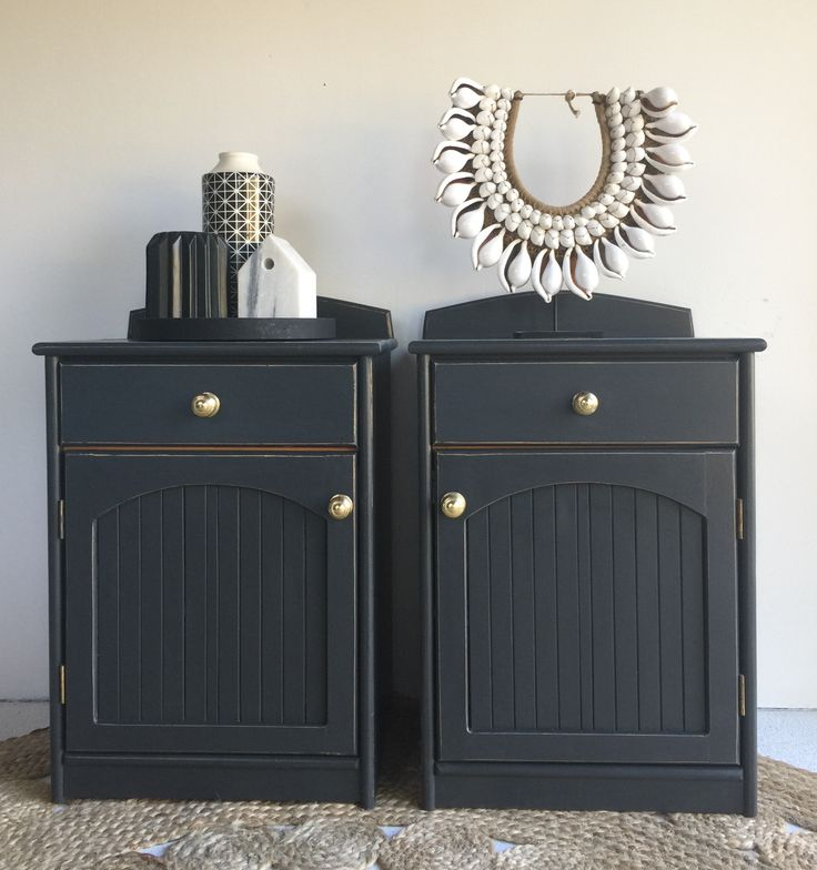 Bedside tables paint in Mezzie and Frank chalk paint - coalmine.