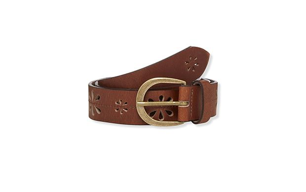 "Cutwork Leather Belt. ""Laser cut flowers add a pretty feminine touch to this belt."""