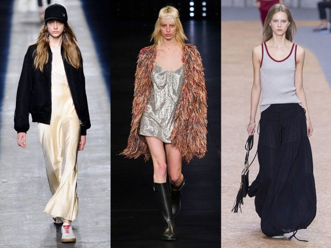 The 90s  From Saint Laurent to Vetments, the 1990s fashion scene was the most popular decade to mine for inspiration at the SS16 shows. Channel your inner Kate Moss by teaming your slip with wellies and an oversized jacket as at Saint Laurent, or take some sporty street styling tips from the Alexander Wang show. Even the tracksuit made a seriously chic comeback, with Edie Campbell modeling Chloe's new velour number. We never thought we'd see the day.