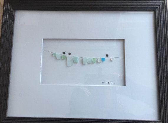 Sea glass laundry line 12 by 16 by sharon nowlan by PebbleArt