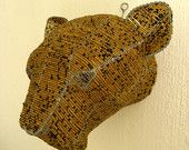 African Beaded Wire Animal Sculpture - LEOPARD TROPHY Head - Natural