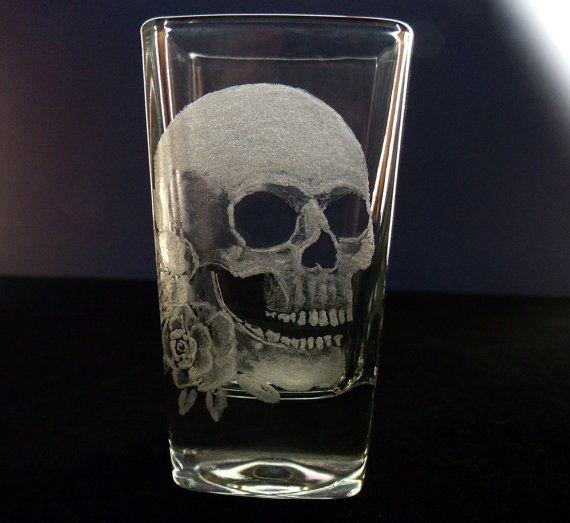 Skull shot glass hand engraved by GlassGoddessNgraving