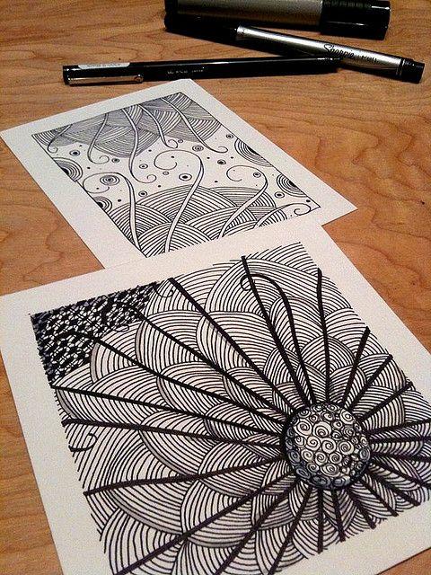 lotus: Doodles Art, Illustrations Art, Zen Tangled, Sharpie Pens, Art Zentangle, Sharpie Art, Flowers Design, Line Art, Doodles Zentangle Flowers