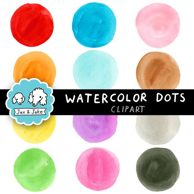 Hand Painted Watercolor Dots / Circles for Personal and Commercial Use $