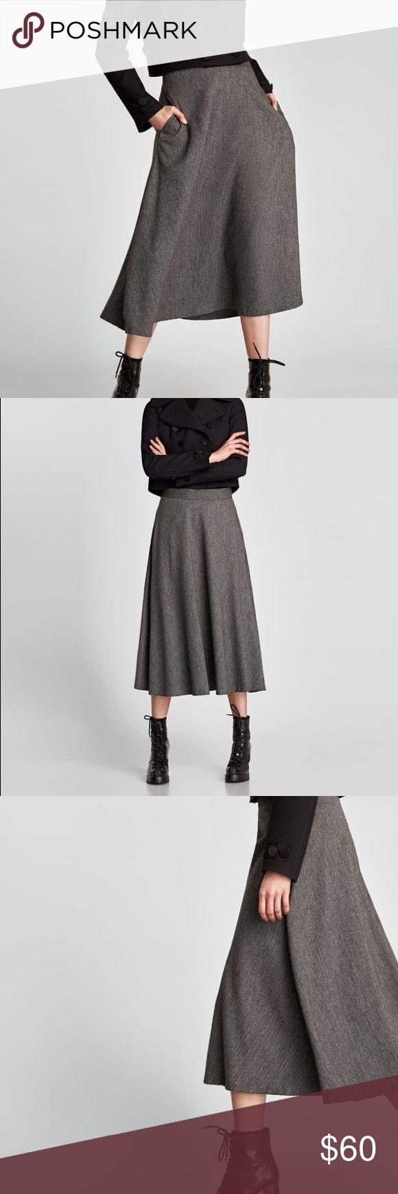 •zara midi flounce skirt• A-line skirt with side pockets and invisible zip fastening in the back.  HEIGHT OF MODEL: 178 cm. / 5′ 10″   43% polyester, 26% wool, 15% viscose, 14% polyamide, 2% elastane Zara Skirts Midi