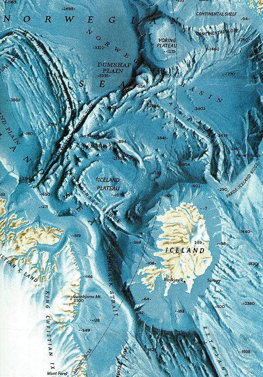 Map of the Ocean Bottom  Relief shown by shading and spot heights around Iceland || Earth Sciences & Map Library | Nautical Charts