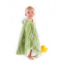 CUDDLEDRY // Toalla Capa VERDE  Simpática y amplia toalla con capucha. Doble capa de tejido de fibra de bambú y algodón orgánico; un 60% mas absorbente que el puro algodón.