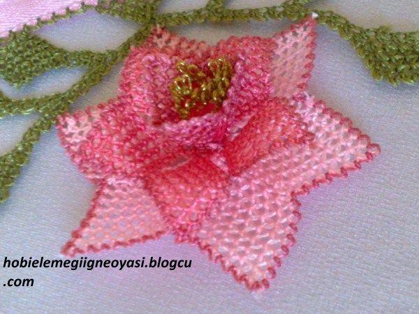Kopma çiçekle havlu kenarı - degirmenci-taki-dantel