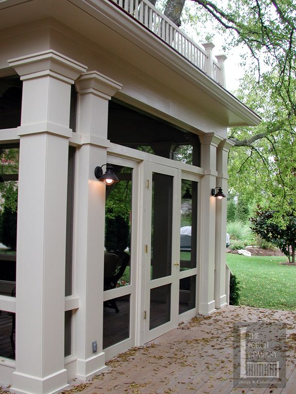 Havens south designs loves the lights on columns of for Screened in front porch