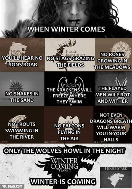 Jon Snow is the winter, and he is coming! The north never forgets! A Lanister always pays their debt, and a Stark always collects! -MB