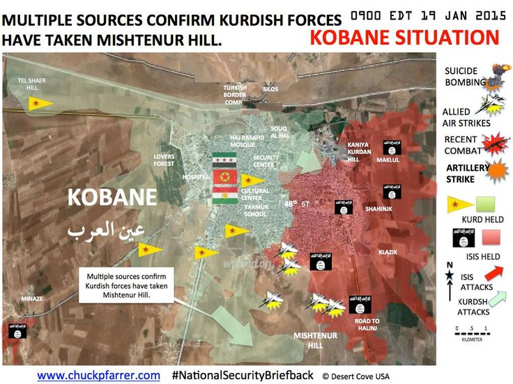 #SYRIA and IRAQ NEWS: #Kobane Update 43 - Kurds Storm Ahead & Capture Key Hill In dramatic events over the weekend, the Kurds in Kobane recaptured Mishtenour Hill and several checkpoints on a key Islamic State supply road. In Hasakah in Syria's north-east, the YPG have found themselves in another fight after an attack by the #Assad regime. *For More #Iraq and Syria News...* http://www.petercliffordonline.com/syria-iraq-news-4 PIC: Kobane Situation Map 19.01.15