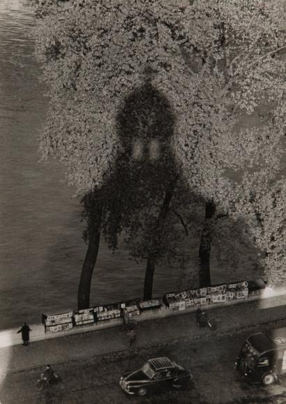 Ombre de l'Institut de France, «Bouquinistes» Pont des Arts, Paris, 1956-1960, Willy Ronis.