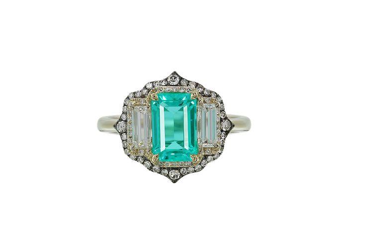 Paraiba Tourmaline and Diamond Ring.