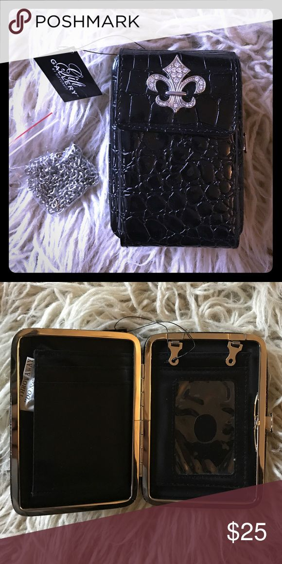 Beautiful cell phone case/wallet with chain Great cell phone plus wallet carrying case plus a chain to turn into a mini purse! Not exactly sure but feel it's better suited for smaller cell phones like the iPhone 5 or 6 😊👍🏼❤ Accessories Phone Cases
