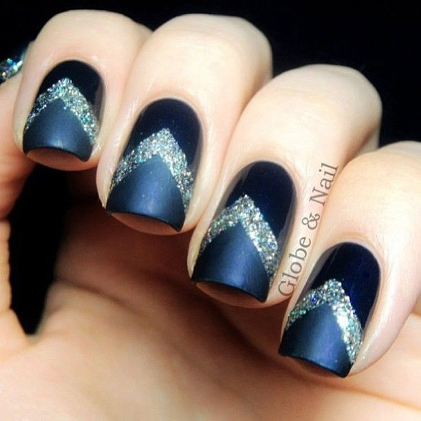 blue and silver chevron nail