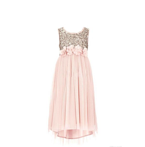 2016 Blush Flower Girls Dresses Gold Sequins Hand Made Flower Sash Tea Length Tulle Jewel A Line Kids Formal Dress Junior Bridesmaid Dress