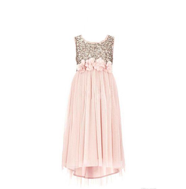 2016 Blush Flower Girls Dresses Gold Sequins Hand Made Flower Sash Tea Length Tulle Jewel A Line Kids Formal Dress Junior Bridesmaid Dress