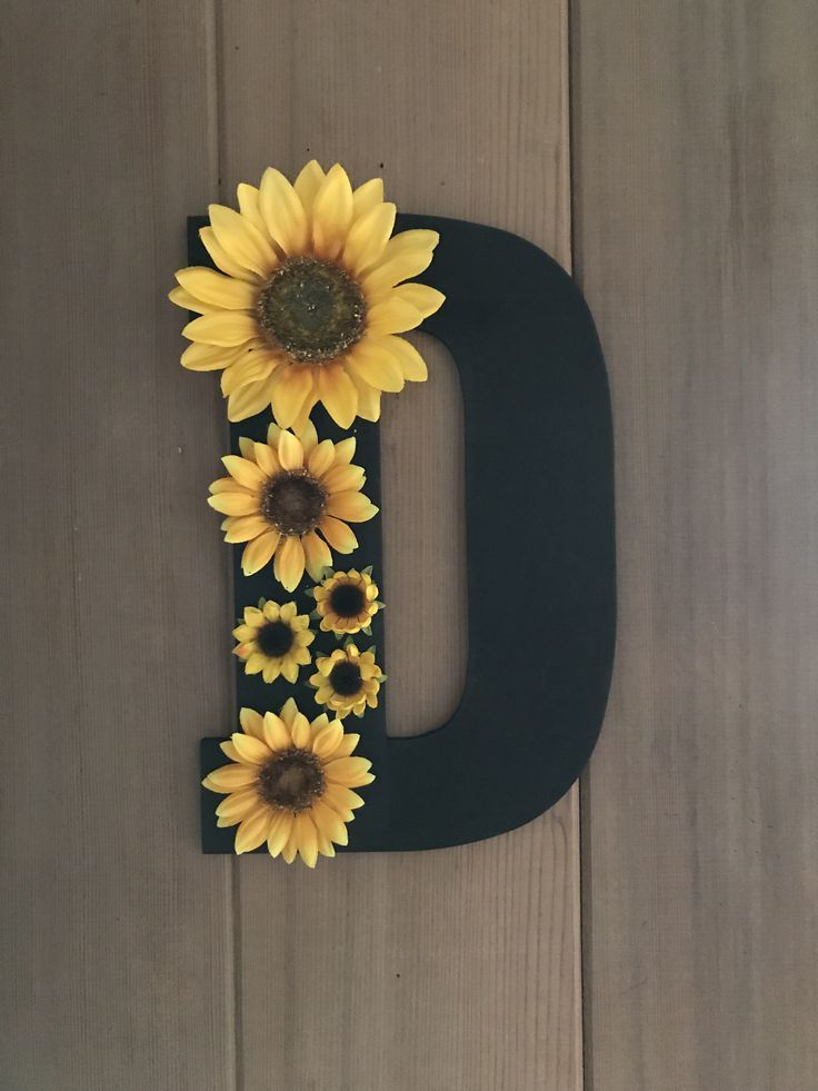 Wooden Letter With Sunflowers In 2019 Sunflower Room