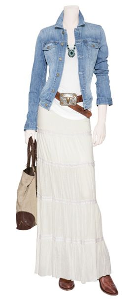 White body sliming cami, denim chambray longer shirt, white peasant shirt (shorter maybe) cowboy buckle belt and boots. Turquoise jewels. Nice for a spring or summer eve.