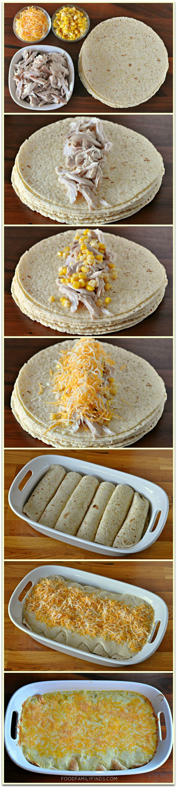 Easy and Creamy White Chicken Enchiladas. With small adjustments it will be even more healthy.