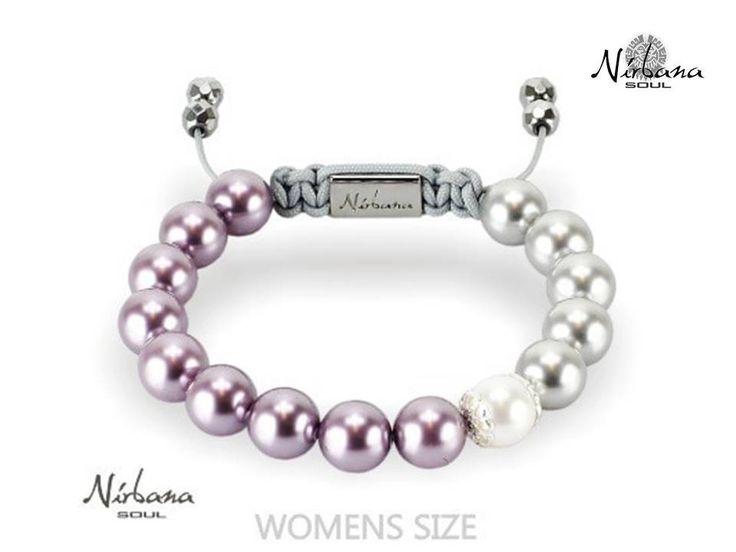 Nirbana Soul - Bellamy - Mauve and Light Grey Shamballa Swarovski Pearl Bracelet