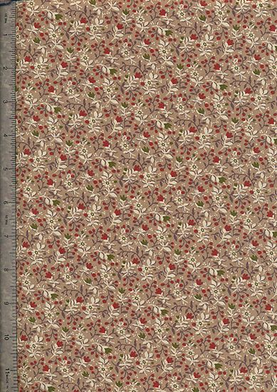 "Floral Cotton Prints 60"" Wide - Brown Ditsy Flower With Sprig"