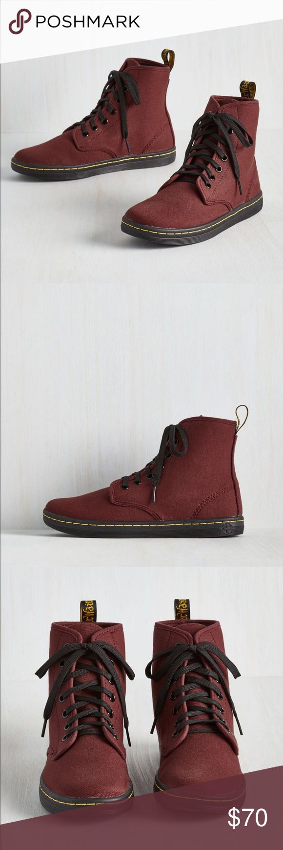 Dr. Martens Shoreditch Canvas Boots Cherry red high top canvas shoreditch eclectic boots from Dr. Martens. Seven-eye lace up style w/ black laces. Heel loop. Sole is stitched and cemented to the base of the upper and to the insole. Super comfy with Dr. Martens signature air-cushioned bouncy sole. I ordered these in a size too small unfortunately and missed my return window :( I tried them on but that was it. Never worn. Still in original box and packaging. Fit true to size. I am usually a…