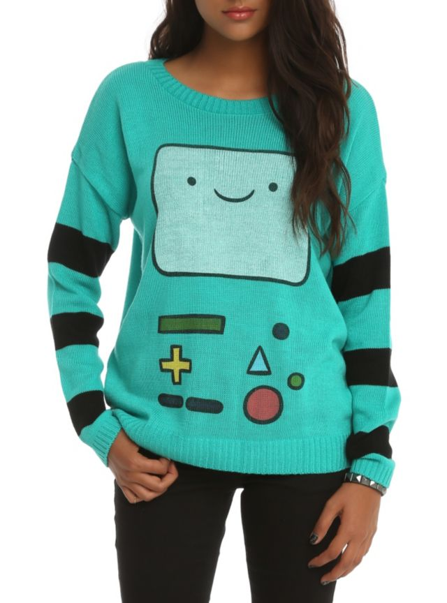 Oh My Glob!!! Teal and black knit sweater from Adventure Time with BMO design. I WANT THIS SOOO BAD!