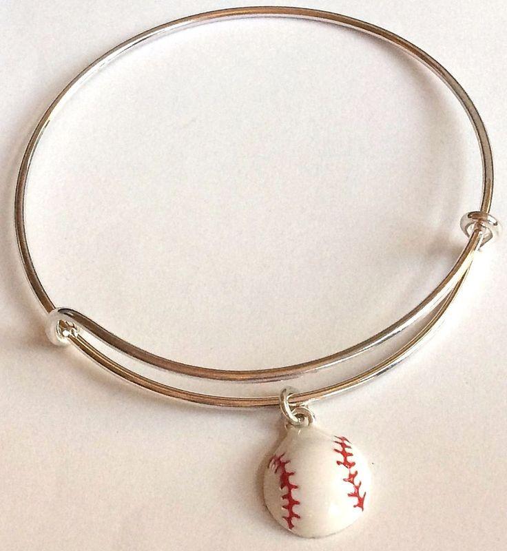 Silver Baseball Mom Charm Bracelet Plated  Sports Ball Enamel Adjustable USA #Unbranded