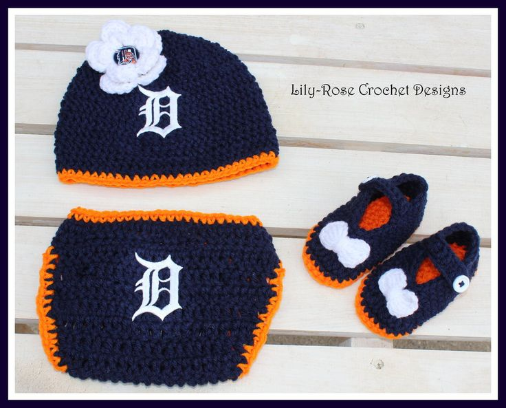 Lily-Rose Crochet Designs — Crochet Girls Detroit Tigers hat flower clip booties & diaper cover Newborn 3 6 12 months 1-3 years $35