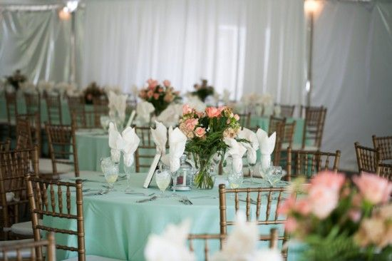 Mint Green Wedding Tablescape With Mint Linens Pink Rose