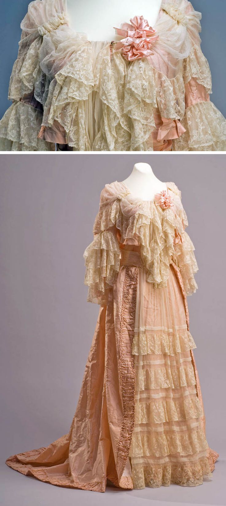 Dress (tea gown?), late 19th century. Silk satin and mixed lace. Museum of Mexican History