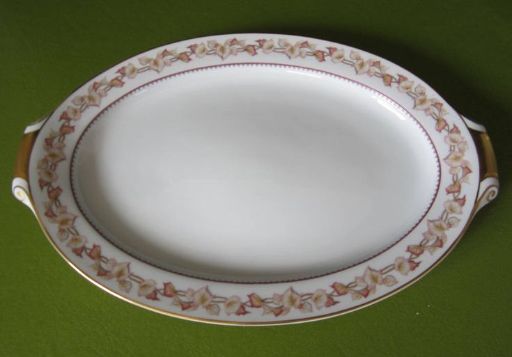 """Narumi China Hartford Platter 17"""" Oval Vintage Occupied Japan OC Extra Large Plate Fine China Gold Trim Cream Color Serving Dish Pastel Pink by SaltwaterVillage on Etsy"""