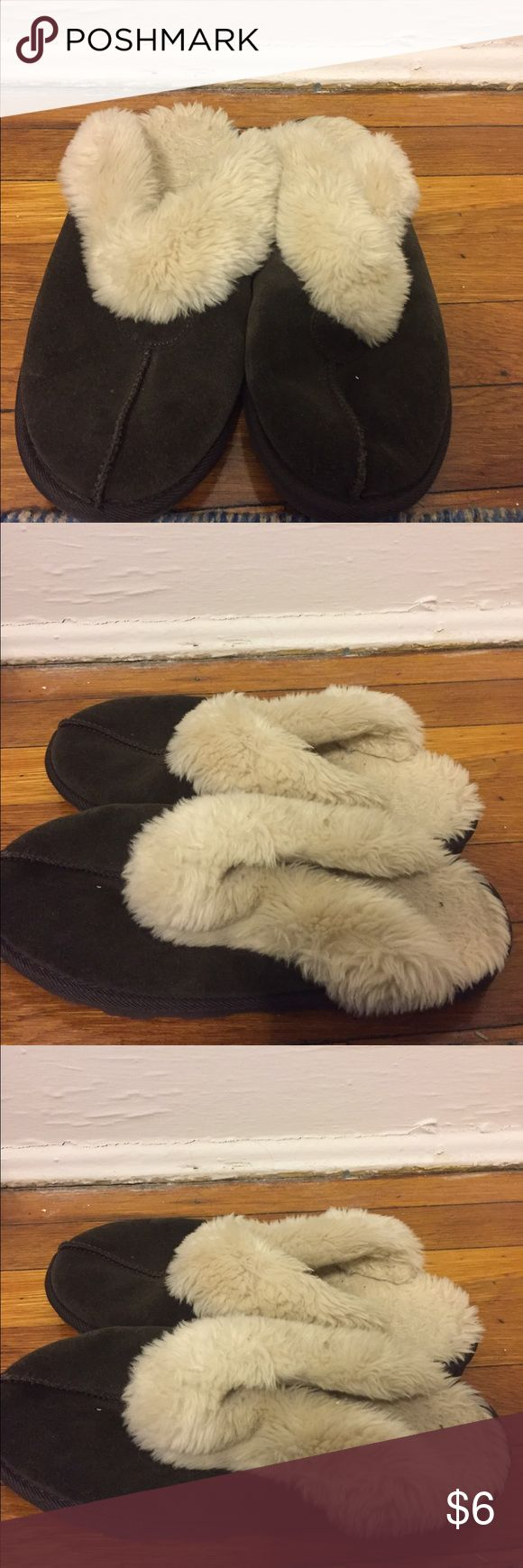 Dark brown slippers Dark brown slippers. A bit matted down inside but no stains. Trades and offers welcome! Shoes Slippers