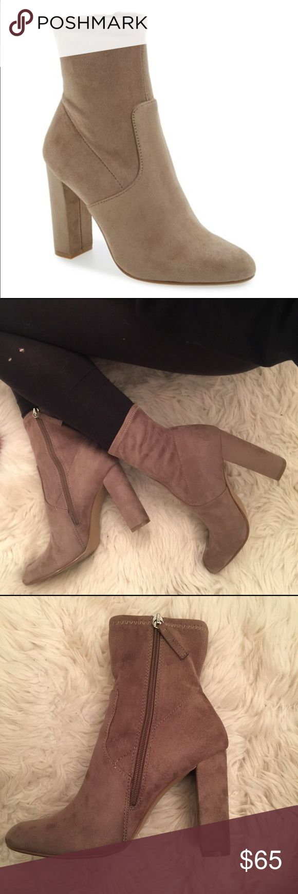 Steve Madden nude sock booties Steve Madden nude suede material sock booties, zipper on inside, really cute and go with everything, worn once for a 4 hour shift, bottoms still very clean (see pic) Steve Madden Shoes Ankle Boots & Booties